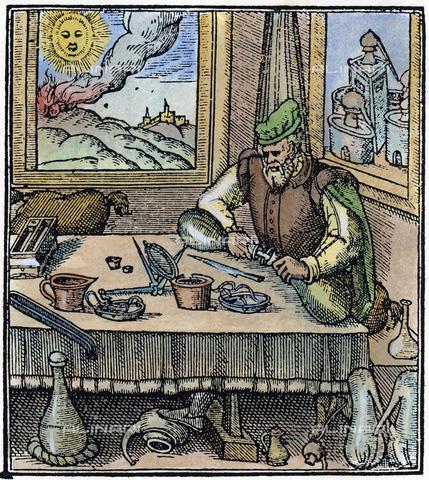 "GRC-F-047307-0000 - Doctor preparing medicinal oils, woodcut taken from ""Newe Iewell of Health"" by Konrad von Gesner (London, 1576) - Sarin Images / Granger, NYC/Alinari Archives"