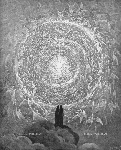 GRC-F-048516-0000 - Beatrice leads Dante to the Empyrean, or higher level of Heaven, where she sees the angels and the souls of the blessed who combine a white rose in the service of the Divinity, Paradise-canto XXXI (verses 1-3), Divine Comedy engraving by Gustave Doré, 1861 - Granger, NYC/Alinari Archives