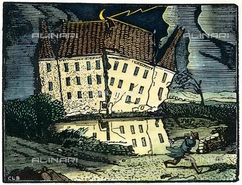 """GRC-F-049333-0000 - Incisione di Constant le Breton per il racconto """"La caduta della Casa degli Usher"""" di Edgar Allan Poe pubblicato per la prima volta nel 1839 - Granger, NYC /Archivi Alinari"""