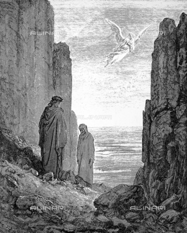 GRC-F-057314-0000 - Dante and Virgil invited by an angel to ascend to the fifth level of Purgatory - Canto XIX, (verses 34-51), Divine Comedy, woodcut by Gustave Doré, around 1861 - Granger, NYC/Alinari Archives