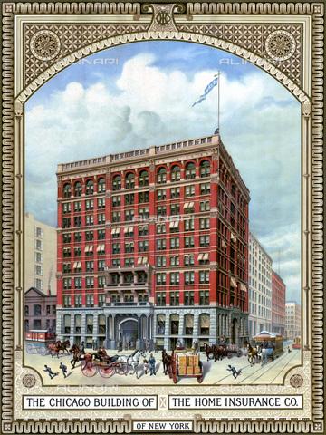 GRC-F-060336-0000 - Edificio della Home Insurance Company di New York, progettato da William L. Jenney e considerato il primo grattacielo della storia, litografia, 1885 - Granger, NYC /Archivi Alinari