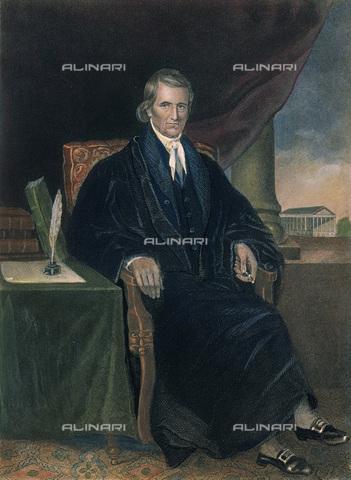 GRC-F-060997-0000 - Ritratto di John Marshall (1755 – 1835), presidente della Corte suprema degli Stati Uniti d'America, incisione a colori, da un disegno di Alonzo Chappel (1828–1887) - Granger, NYC /Archivi Alinari