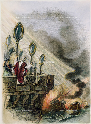 GRC-F-064585-0000 - The Greek inventor and mathematician Archimedes uses his invention of mirrors to set fire to the ships of the Roman fleet, engraving, 19th Century Art. - Granger, NYC/Alinari Archives
