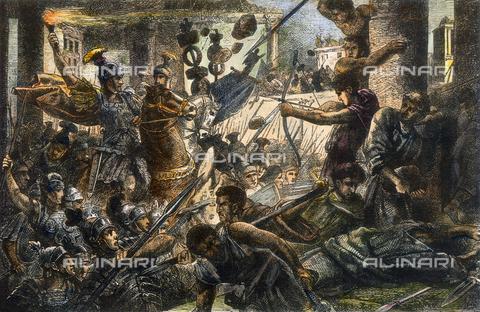 GRC-F-066637-0000 - Lucio Cornelio Silla (138-78 a.C.) e il suo esercito attaccano Roma nell'82 a.C., incisione, Arte del XIX sec. - Granger, NYC /Archivi Alinari