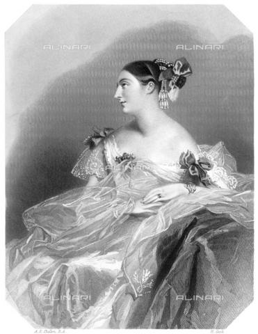 GRC-F-066784-0000 - Ritratto della scrittrice Teresa Gamba contessa Guiccioli (1798–1873), amante di Lord Byron, incisione da Alfred Edward Chalon (1780-1860) - Granger, NYC /Archivi Alinari