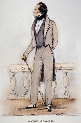 GRC-F-067269-0000 - Ritratto del poeta inglese George Gordon Noel Byron, conosciuto come Lord Byron (1788-1824), incisione da uno schizzo di maggio 1823 dal Conte Alfred d'Orsay - Granger, NYC /Archivi Alinari