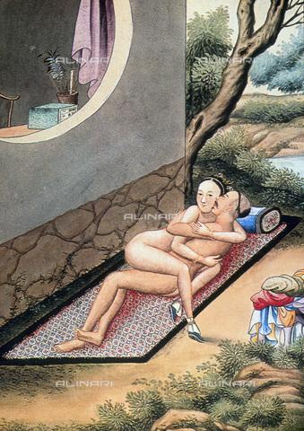 GRC-F-067782-0000 - Erotismo cinese, scena tratta da Sou Nu King, trattato taoista cinese sull'iniziazione sessuale, IV secolo dC - Granger, NYC /Archivi Alinari