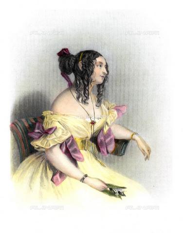 GRC-F-069857-0000 - Ritratto della scrittrice Teresa Gamba contessa Guiccioli (1798–1873), amante di Lord Byron, incisione, Scuola Inglese del XIX secolo - Sarin Images / Granger, NYC /Archivi Alinari