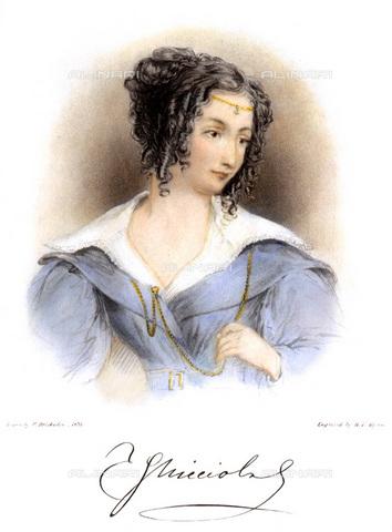 GRC-F-069858-0000 - Ritratto della scrittrice Teresa Gamba contessa Guiccioli (1798–1873), amante di Lord Byron, incisione da un disegno di William Brockedon (1787–1854) - Sarin Images / Granger, NYC /Archivi Alinari
