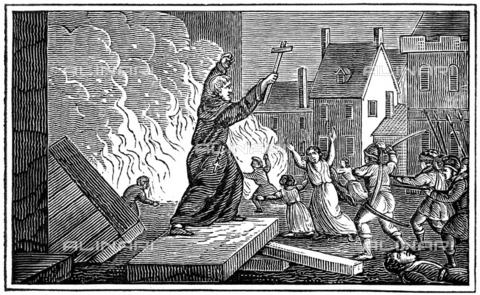 GRC-F-070005-0000 - L'assalto di Beziers, il 22 luglio 1209, durante la crociata albigese contro gli eretici catari nel sud della Francia, 1832, xilografia, Scuola americana - Granger, NYC /Archivi Alinari