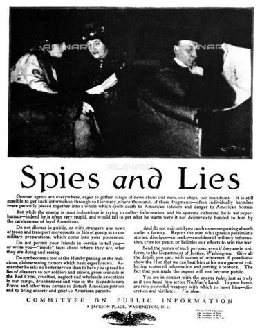 """GRC-F-070057-0000 - """"Spie e bugie"""". Avviso su una rivista americana del 1918: la commissione per l'informazione pubblica avverte del pericolo di spie nemiche, propaganda e discorsi incuranti sul fronte familiare - Granger, NYC /Archivi Alinari"""