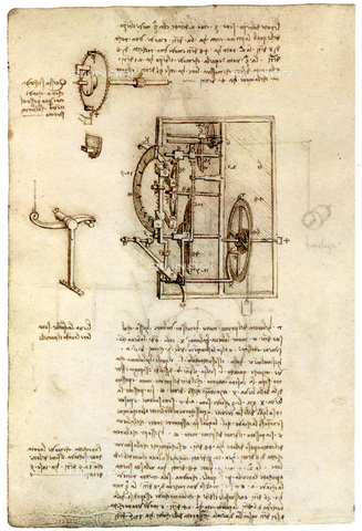 GRC-F-074173-0000 - Meccanismo di un orologio, disegno, Leonardo da Vinci (1452-1519) - Granger, NYC /Archivi Alinari