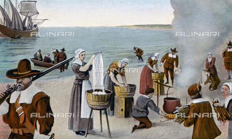 GRC-F-075095-0000 - I pellegrini lavano i loro indumenti il 23 novembre 1620 a Provincetown, Cape Cod, Massachusetts - Granger, NYC /Archivi Alinari