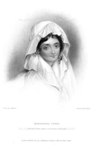 GRC-F-076003-0000 - Ritratto di Margherita Cogni, amante di Lord Byron, incisione da un ritratto del 1818 ca. - Granger, NYC /Archivi Alinari