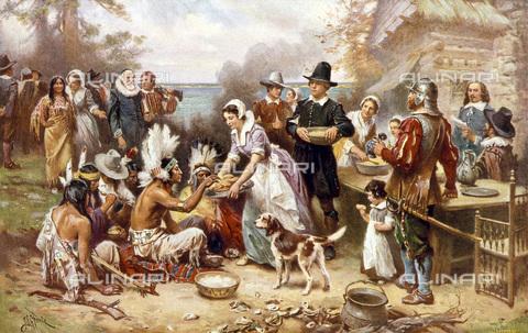 GRC-F-076597-0000 - Il primo Ringraziamento dei pellegrini, 1621, incisione tratta da un dipinto di Jean Leon Gerome Ferris - Granger, NYC /Archivi Alinari