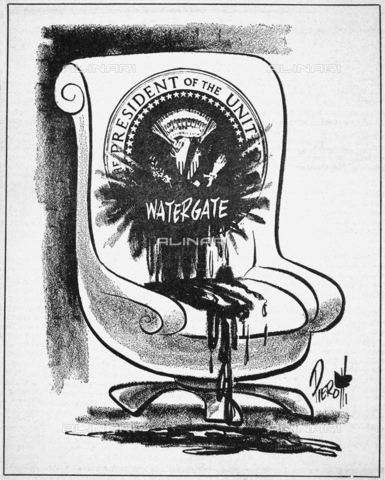 """GRC-F-085369-0000 - Scandalo Watergate: fumetto sui danni, a seguito del coinvolgimento del presidente Richard Nixon nello scandalo del Watergate, nell'ufficio della presidenza, disegno di John Pierotti (1911-1987) pubblicato sul """"New York Post"""" del 14 maggio 1973 - Granger, NYC /Archivi Alinari"""