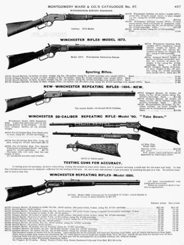 GRC-F-093190-0000 - Fucili Winchester, pagina tratta dal catalogo della ditta Montgomery Ward del 1895 - Granger, NYC /Archivi Alinari