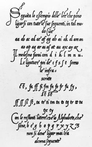 """GRC-F-095682-0000 - """"Regola da imparare scrivere varii caratteri de littere con li suoi compassi et misure"""", pagina con esercizi di calligrafia, Venezia, 1533 - Granger, NYC /Archivi Alinari"""