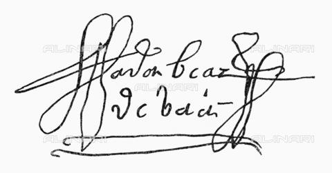 GRC-F-095706-0000 - Firma autografa dell'esploratore spagnolo Alvar Nuñez Cabeza de Vaca (1488-1490 ca. – 1557-1558 ca.) - Granger, NYC /Archivi Alinari