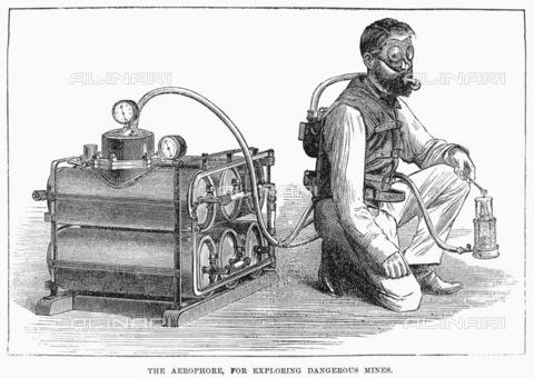 GRC-F-096418-0000 - L' aeroforo, utilizzato per esplorare miniere pericolose, xilografia, scuola inglese, 1874 - Granger, NYC /Archivi Alinari