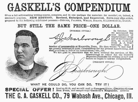 """GRC-F-097734-0000 - """"Gaskell's Compendium"""" (Compendio di Gaskell), corso di autodidatta in calligrafia scritto da George A. Gaskell (1844-1885), stampa, pubblicità sulla pagina di una rivista americana, 1887 - Granger, NYC /Archivi Alinari"""