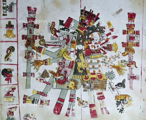 GRC-F-104193-0000 - Divinità azteche: raffigurazioni del dio del vento Ehecatl (a sinistra) e Mictlantecuhtli (a destra) con i simboli del calendario divinatorio;  miniatura del Codice Borgia (o Codice Yoalli Ehecatl), arte atzeca, Biblioteca Apostolica Vaticana, Città del Vaticano - Granger, NYC /Archivi Alinari