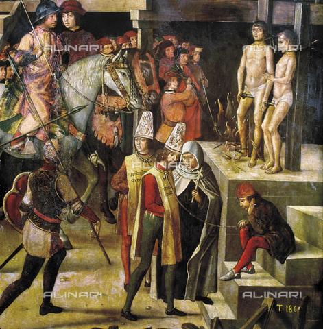 GRC-F-104270-0000 - San Domenico di Guzman presiede alla tortura degli eretici (Auto-da-fe), particolare, olio su tavola, Pedro Berruguete (1450-1504), Museo del Prado, Madrid - Granger, NYC /Archivi Alinari