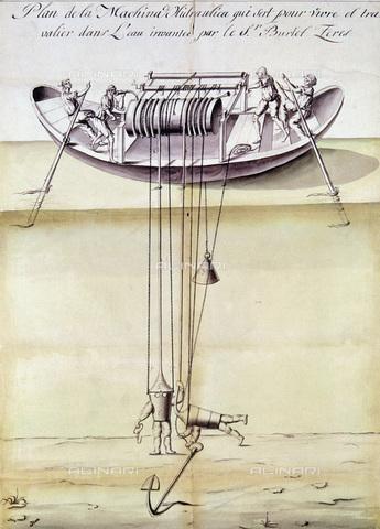 GRC-F-104627-0000 - Modello di una macchina idraulica utilizzata per il recupero di oggetti affondati durante i naufragi, inventata da Burlet Zeres nel 1791; disegno - Granger, NYC /Archivi Alinari