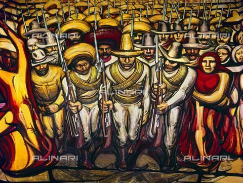 GRC-F-104814-0000 - Il popolo in armi durante la rivoluzione del 1910, con Emiliano Zapata e Pancho Villa, particolare, murale, David Alfaro Siqueiros (1896-1974), Museo Nacional de Historia, Città del Messico - Granger, NYC /Archivi Alinari