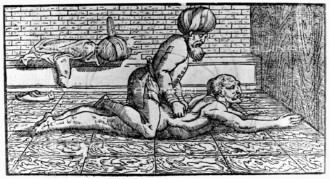 """GRC-F-106526-0000 - Avicenna, an Arab doctor and philosopher, massages a patient, a woodcut taken from """"Avicennae Arabum Medicorum Principis"""", published in Venice in 1595 - Granger, NYC/Alinari Archives"""