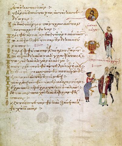 GRC-F-115793-0000 - Un iconoclasta distrugge l'immagine di Cristo con la calce, miniatura di un salterio, manoscritto realizzato in un Monastero di Costantinopoli, arte bizantina - Granger, NYC /Archivi Alinari