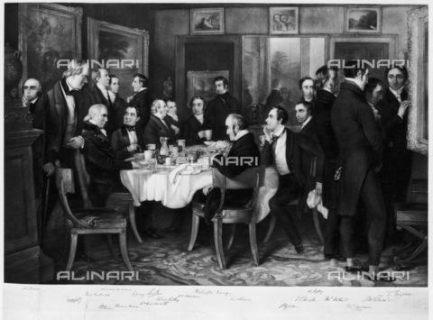 GRC-F-116604-0000 - Colazione in casa del poeta Samuel Rogers (1763-1855) nel 1815, fra gli ospiti da sinistra: William Wordsworth, Robert Southey, Samuel Coleridge, Washington Irving e Lord Byron, incisione da Charles Mottram (1807-1876) - Granger, NYC /Archivi Alinari