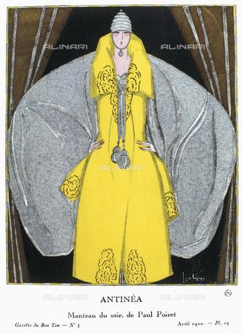 """GRC-F-126586-0000 - Mantella da sera creata da Paul Poiret, tavola di Georges Lepape (1887-1971) per la rivista francese """"La Gazette du Bon Ton"""" del 1920 - Granger, NYC /Archivi Alinari"""