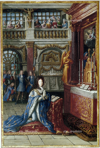 GRC-F-127100-0000 - Il re di Francia Luigi XIV (1643-1715) inginocchiato in una cappella, scuola francese - Granger, NYC /Archivi Alinari