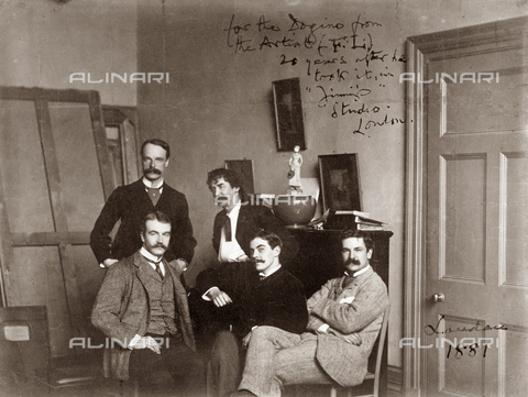 GRC-F-622009-0000 - Gli artisti Julian e Waldo Story, James McNeill Whistler, Frank Miles e Honourable Frederick Lawless nello studio londinese di Whistler nel 1881 - Data dello scatto: 1881 - Granger, NYC /Archivi Alinari