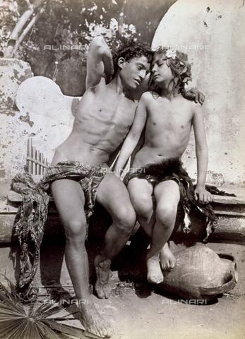 GWA-F-000950-0000 - Couple of semi-nude adolescents portrayed as Dio Pan and a young Ninfa. They are sitting on a small stone wall, in atteggiamento di inequivocabile sensualità - Data dello scatto: 14/02/1904 - Archivi Alinari, Firenze