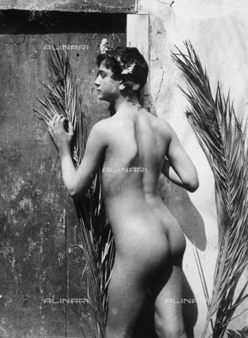 GWN-F-000991-0000 - Portrait of a youth, seen from the back, in an artistic pose - Data dello scatto: 1895 - 1905 - Archivi Alinari, Firenze