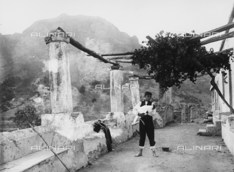 GWN-F-03091B-0000 - Young Sicilian man photographed under a pergola, with a turkey in his hands - Data dello scatto: 1895 - 1905 - Archivi Alinari, Firenze