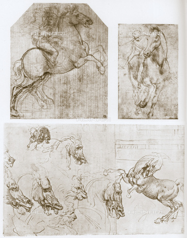 HIP-S-000115-4988 - Three studies of knights for the Adoration of the Magi, drawings by Leonardo da Vinci (1452-1519) preserved respectively in the Captain Colville collection in London, in the John Nicholas Brown collection in Rhode Island and at the Royal Library of Windsor Castle - Art Media / Heritage Images /Alinari Archives, Florence