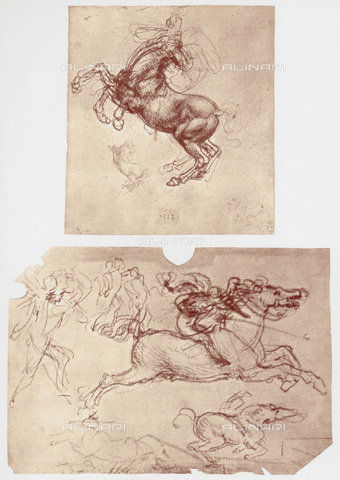 HIP-S-000115-4989 - Horses and infantrymen, drawings, Leonardo da Vinci (1452-1519), preserved in the Royal Library of Windsor Castle - Art Media / Heritage Images /Alinari Archives, Florence