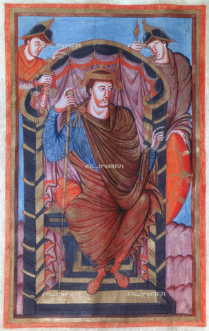 HIP-S-000115-6840 - Lotario (795-855) sitting on a throne flanked by two guards, miniature of Lotario's Evangeliary, Carolingian art, Bibliotheque Nationale de France, Paris - Ann Ronan Picture Library / Heritage Images /Alinari Archives, Florence