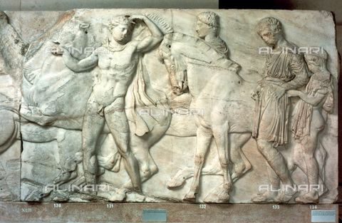 HIP-S-000134-3541 - Metope of the Parthenon, marble, Greek Civilization of the 5th century BC, British Museum, London - Art Media / Heritage Images /Alinari Archives, Florence
