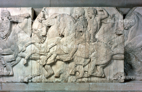 HIP-S-000134-3543 - Metope of the Parthenon, marble, Greek Civilization of the 5th century BC, British Museum, London - Art Media / Heritage Images /Alinari Archives, Florence
