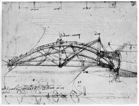 "HIP-S-000232-0662 - Design for a parabolic swing bridge, drawing by Leonardo da Vinci (1452-1519), taken from ""Leonardo da Vinci"" by Ludwig H Heydenreich (London, 1954) - The Print Collector / Heritage Images /Alinari Archives, Florence"