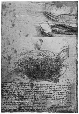 "HIP-S-000232-0746 - Flow of eddies in a waterfall,, drawing by Leonardo da Vinci (1452-1519), preserved in the Royal Library of Windsor Castle, taken from ""Leonardo da Vinci"" by Ludwig H Heydenreich (London, 1954) - The Print Collector / Heritage Images /Alinari Archives, Florence"