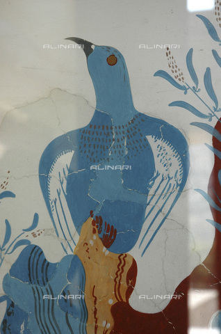 HIP-S-000233-0087 - The 'Blue Bird' fresco from the House of the Frescoes, Knossos, Crete, Minoan, c1550 BC - Heritage Images /Alinari Archives, Florence, Werner Forman Archive/ N J Saunders