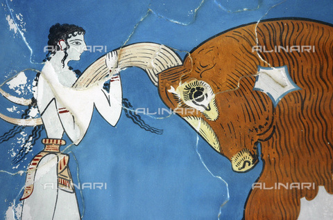 HIP-S-000233-0088 - The 'Toreador Fresco', Minoan, Court of the Stone Spout, Knossos, Crete, 1550-1450 BC. One man and two women leap over a charging bull's back. The women are depicted with milky white skin and the man with red. It is believed that the scene represents a religious ritual or a mythological scene. Detail of one of the women - Heritage Images /Alinari Archives, Florence, Werner Forman Archive/ N J Saunders