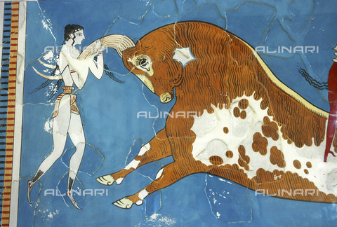 HIP-S-000233-0089 - The 'Toreador Fresco', Minoan, Court of the Stone Spout, Knossos, Crete, 1550-1450 BC. One man and two women leap over a charging bull's back. The women are depicted with milky white skin and the man with red. It is believed that the scene represents a religious ritual or a mythological scene. Detail of one of the women - Heritage Images /Alinari Archives, Florence, Werner Forman Archive/ N J Saunders