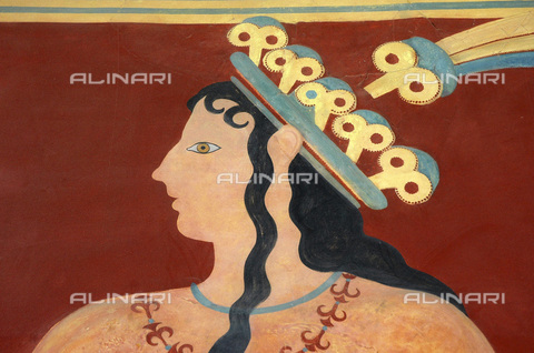 HIP-S-000233-0091 - The 'Prince of Lilies', fresco, Minoan, Corridor of Processions, Knossos, Crete, 1550-1450 BC. He is wearing a lily crown with a peacock feather. The archaeologist Arthur Evans believed him to be a priest-king - Heritage Images /Alinari Archives, Florence, Werner Forman Archive/ N J Saunders