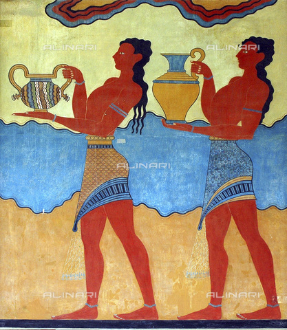 HIP-S-000233-0135 - The 'Cup Bearers' fresco from the South Propylaia, Knossos, Crete, Minoan, c1500 BC - Heritage Images /Alinari Archives, Florence, Werner Forman Archive/ N J Saunders